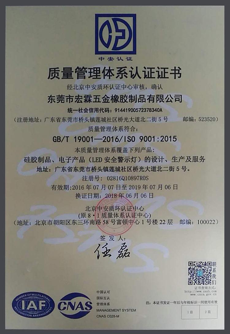 宏霖硅胶ISO证书
